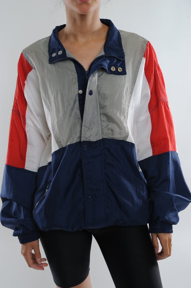 Red and Navy Colorblock Windbreaker