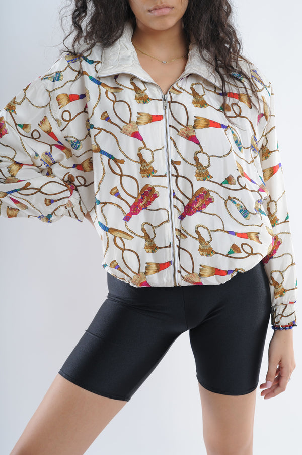 Rope Print Silk Windbreaker