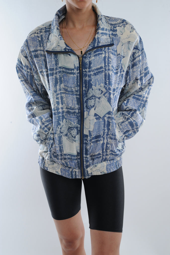 Abstract Print Silk WIndbreaker