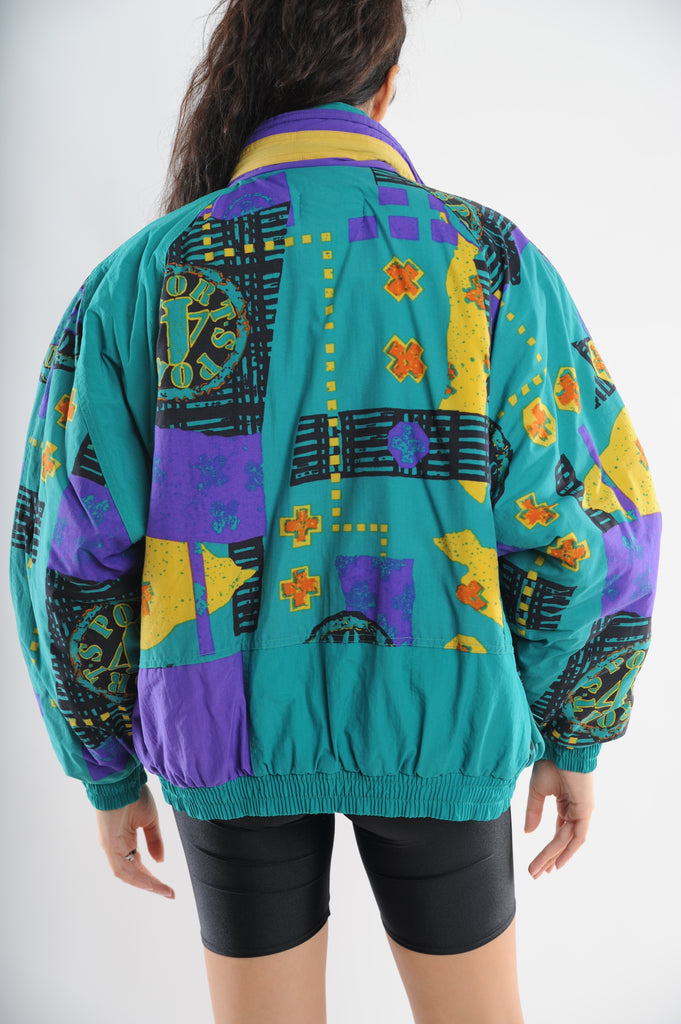 Abstract Print Puffer Jacket