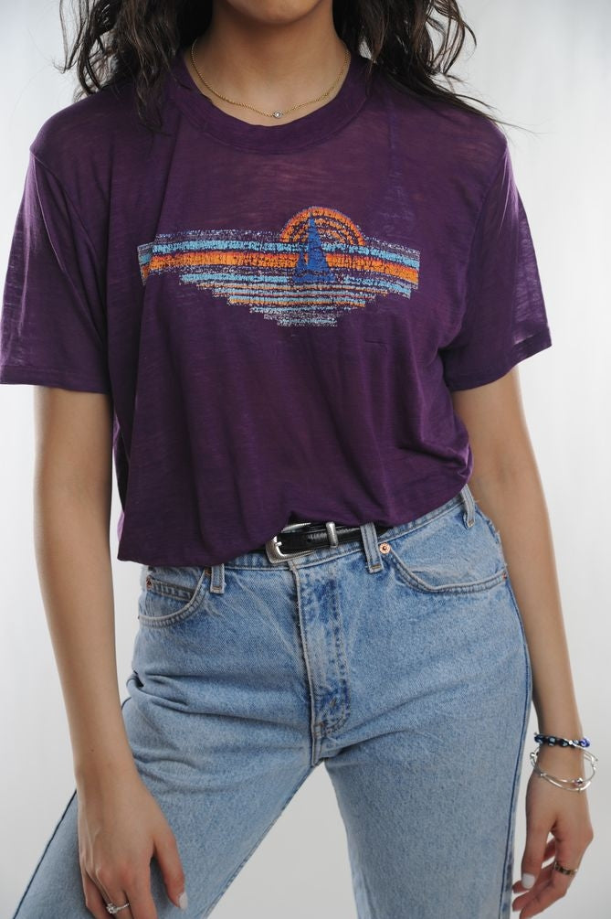 Purple Sunset Boat Tee