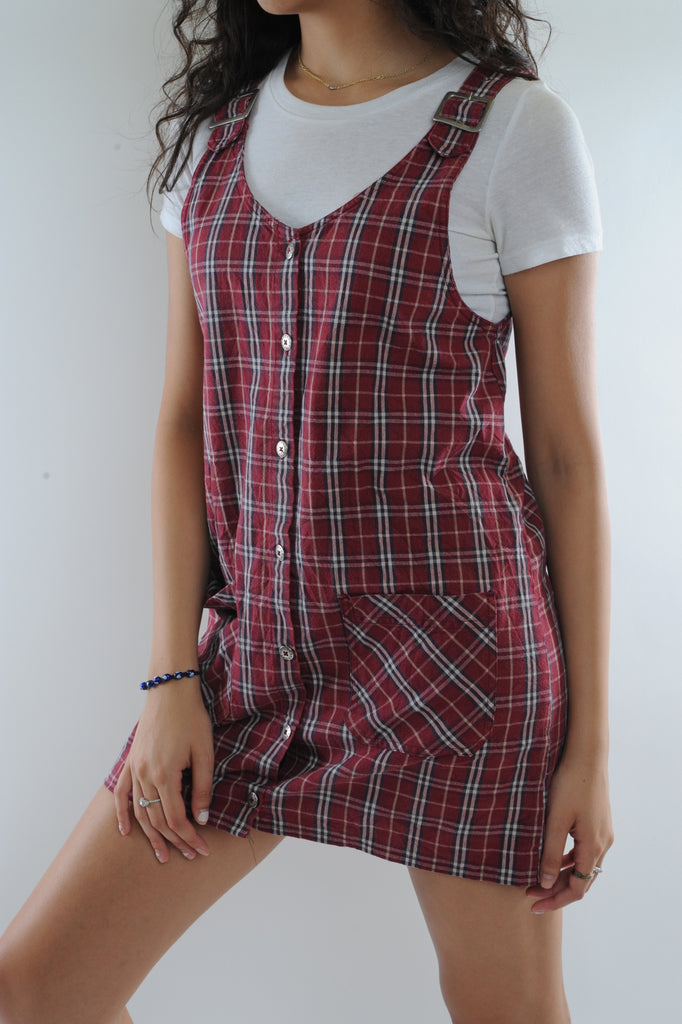 Red Plaid Overall Dress