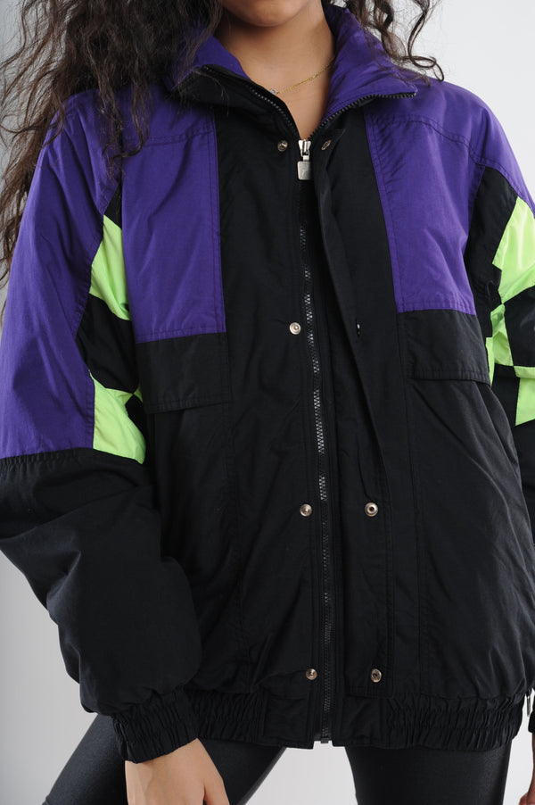 Black Colorblock Puffy Jacket