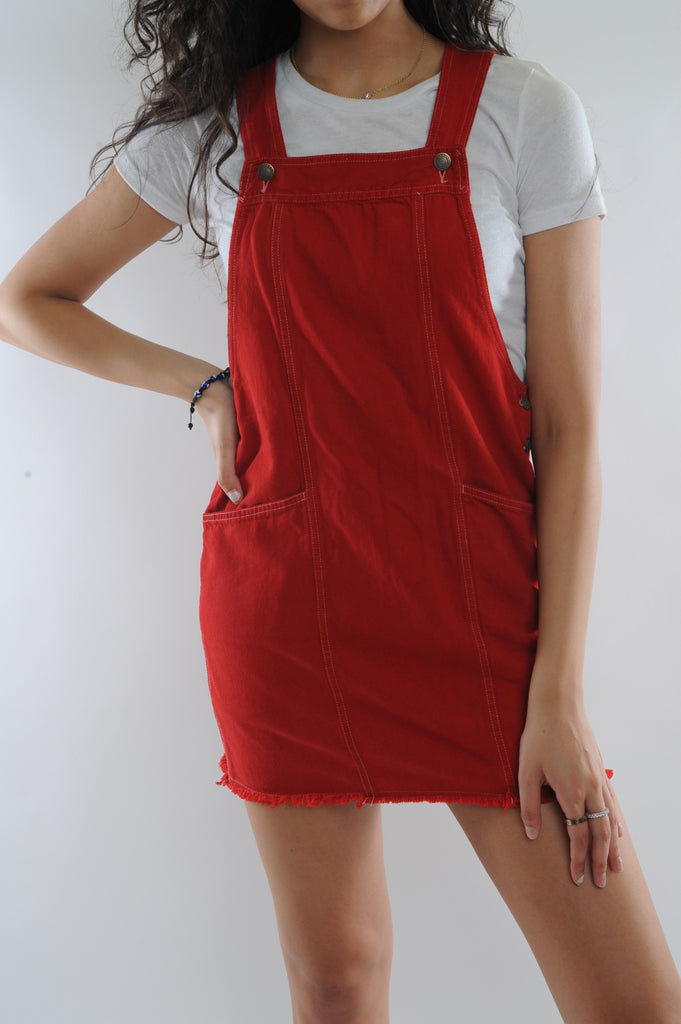 Red Cotton Overall Dress