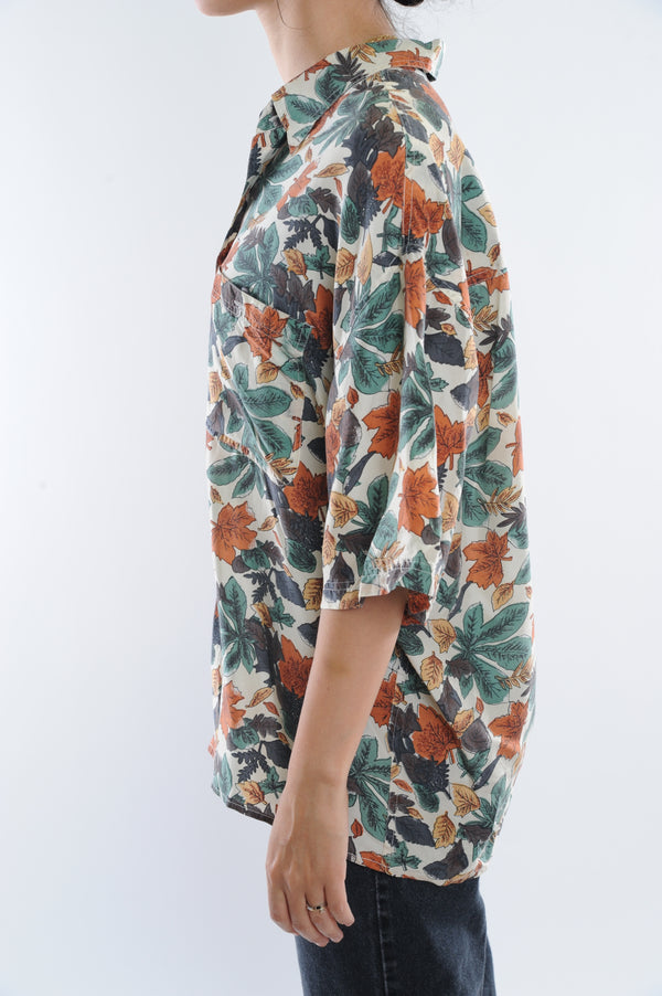 Autumn Leaf Print Silk Button Down