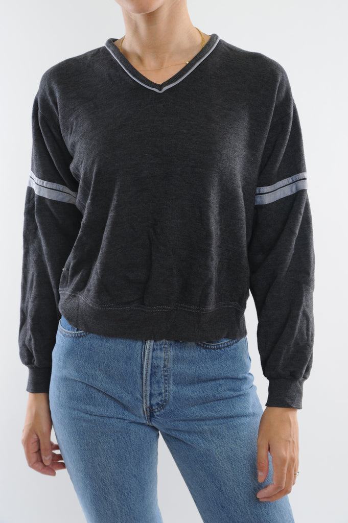 Gray Striped V-Neck Sweatshirt