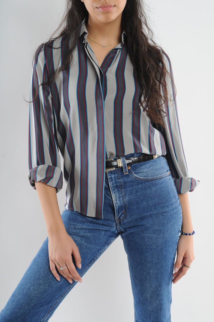 Gray Striped Blouse