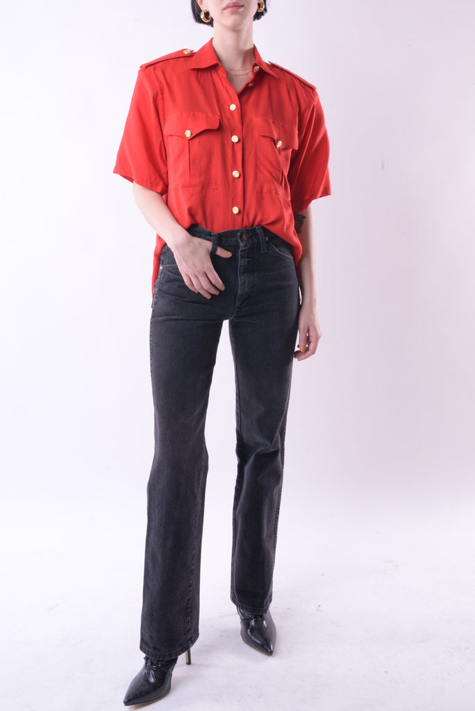 Gold Button Red Blouse