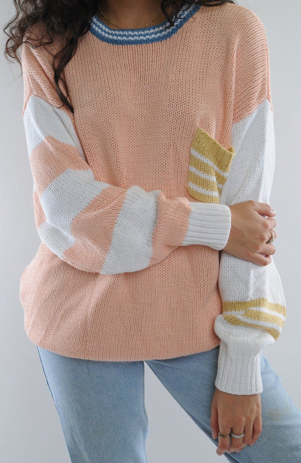 Peach Rib Knit Sweater
