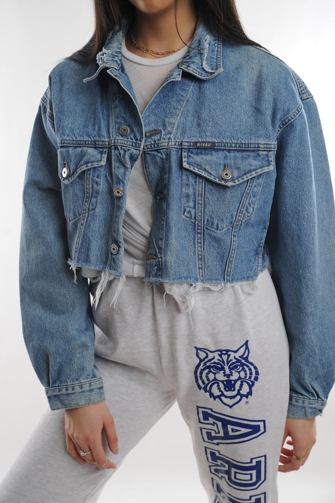 Cropped Denim Trucker Jacket