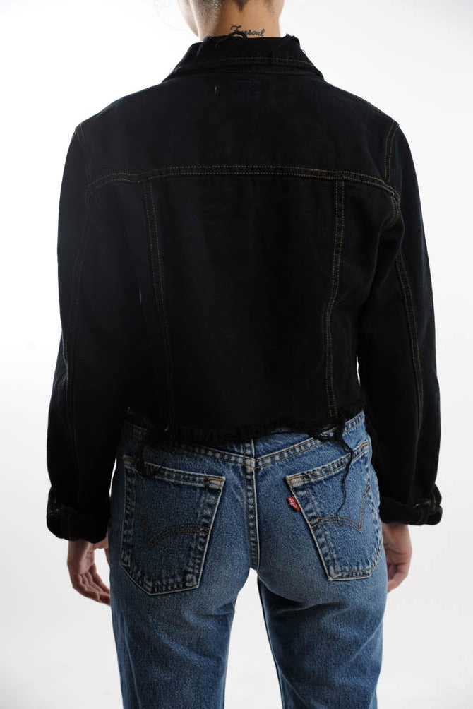 Cropped Black Denim Trucker Jacket
