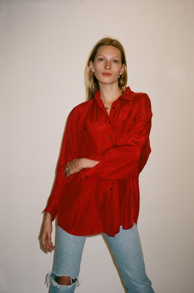 Red Silk Button Down