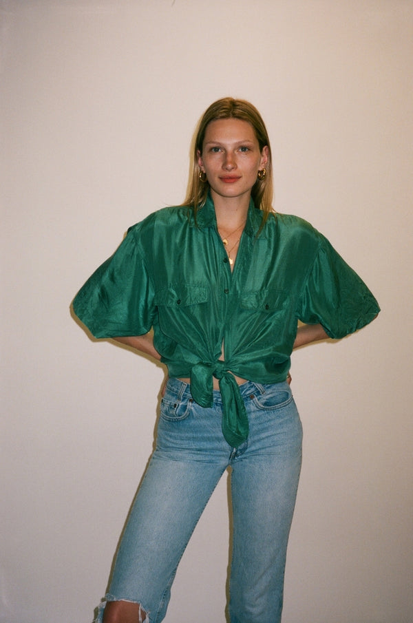 Green Silk Short Sleeve Button Down