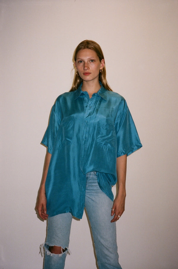 Blue Silk Short Sleeve Button Down