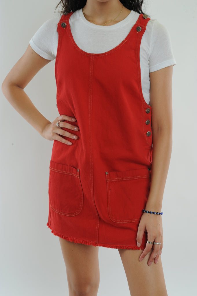 Red Denim Mini Dress