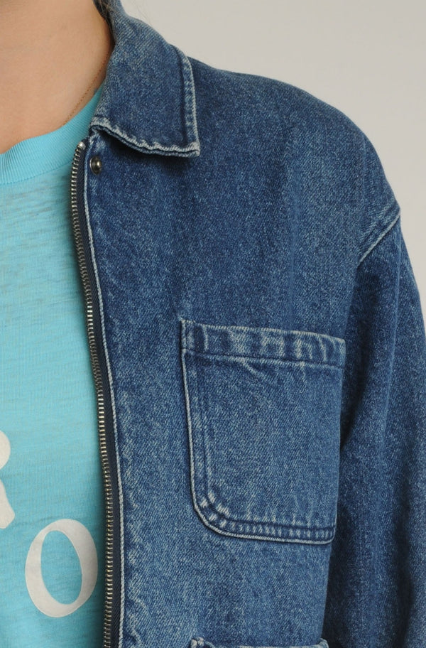 Cropped Denim Work Jacket