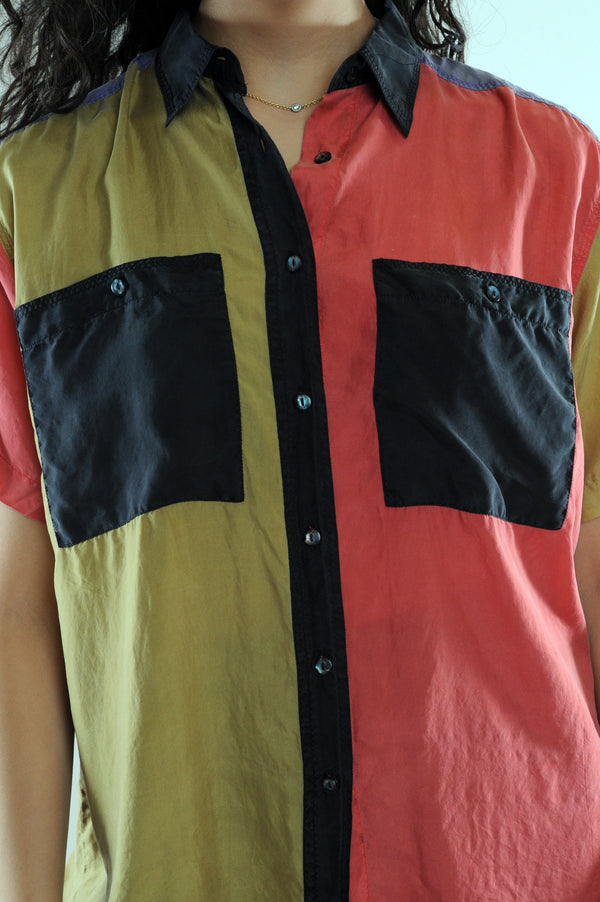 Colorblock Silk Button Down