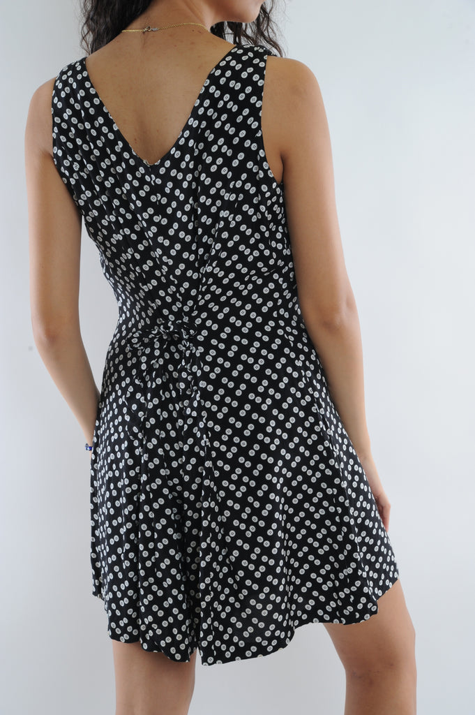 Black Button Pattern Mini Dress