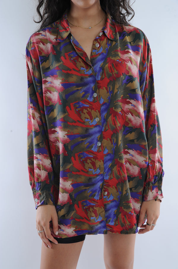 Abstract Print Silk Button Down