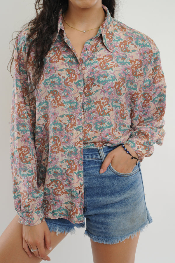 Paisley Silk Button Down