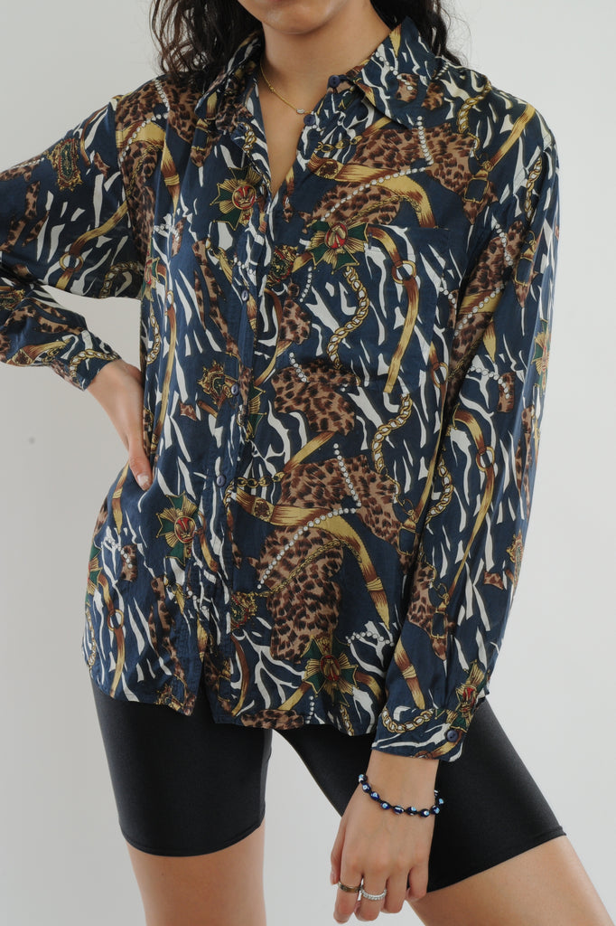 Baroque Print Silk Button Down