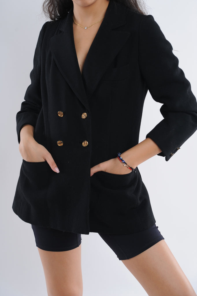 Black Gold Button Blazer