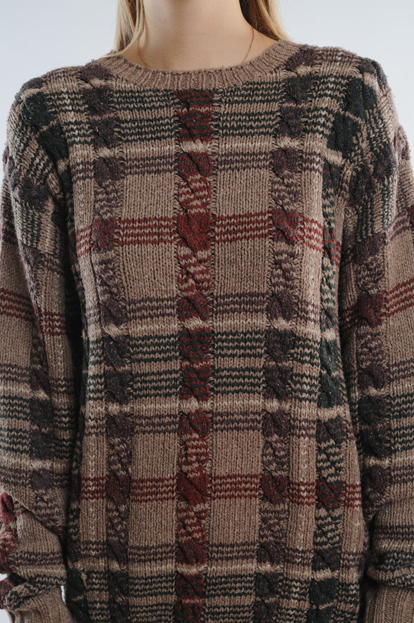 Plaid Cable Knit Sweater