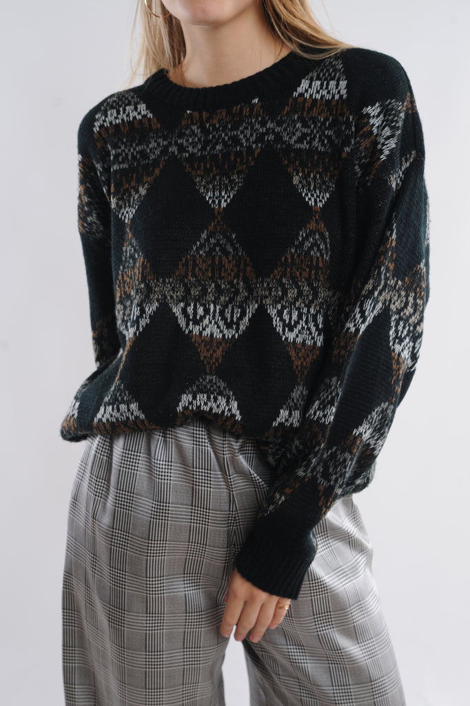 Black Geometric Sweater