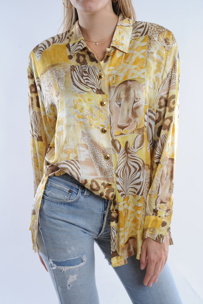 Escada Animal Print Silk Button Down