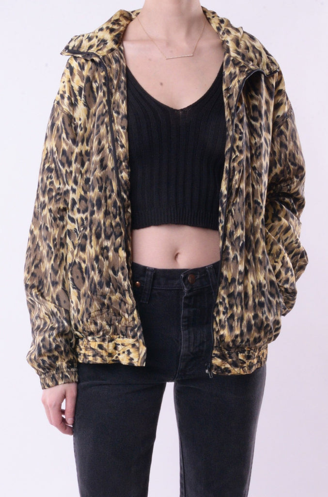 Silk Leopard Print Windbreaker