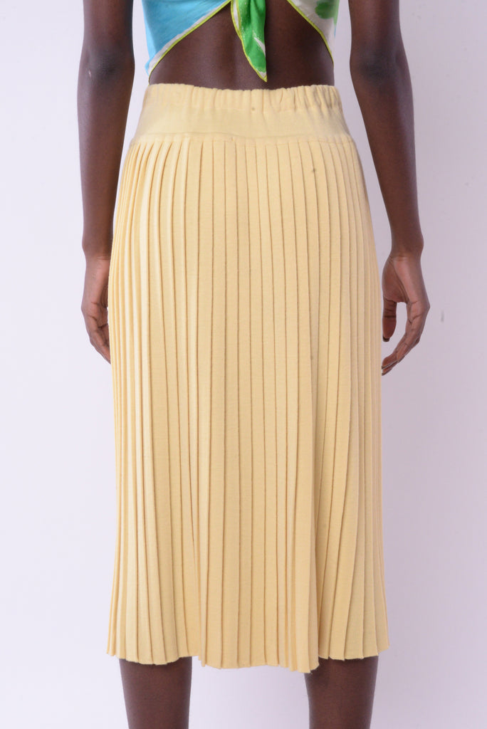 Yellow Pleated Maxi Skirt