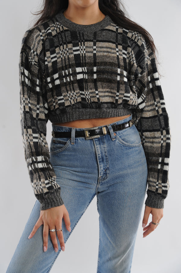 Geometric Cropped Sweater