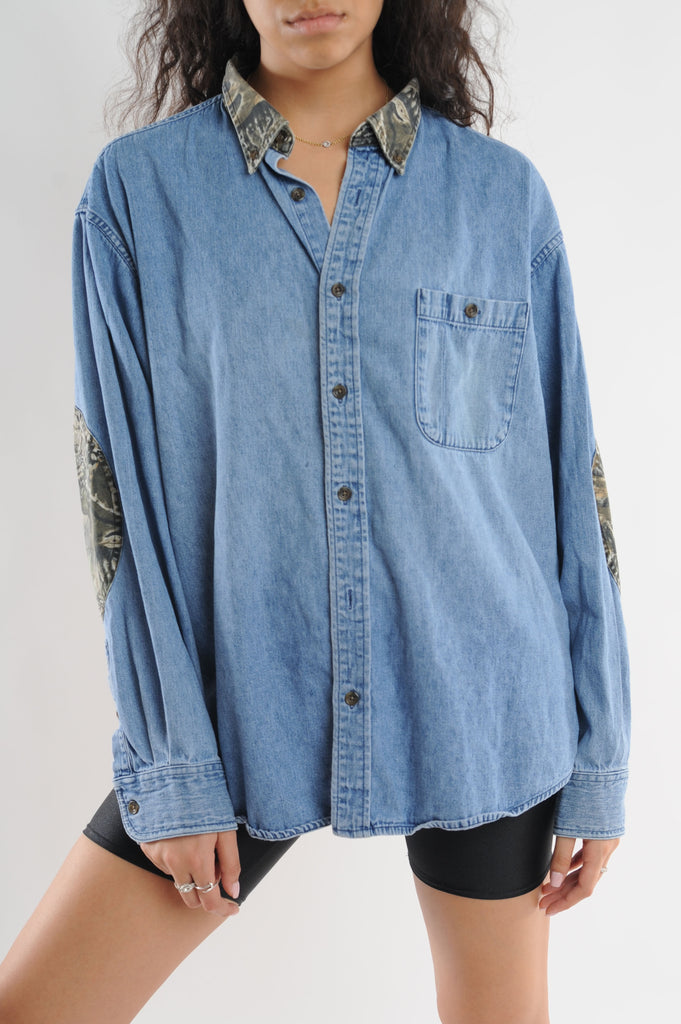 Camo Accented Denim Shirt