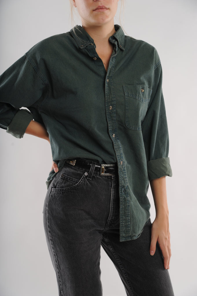 Dark Green Denim Shirt