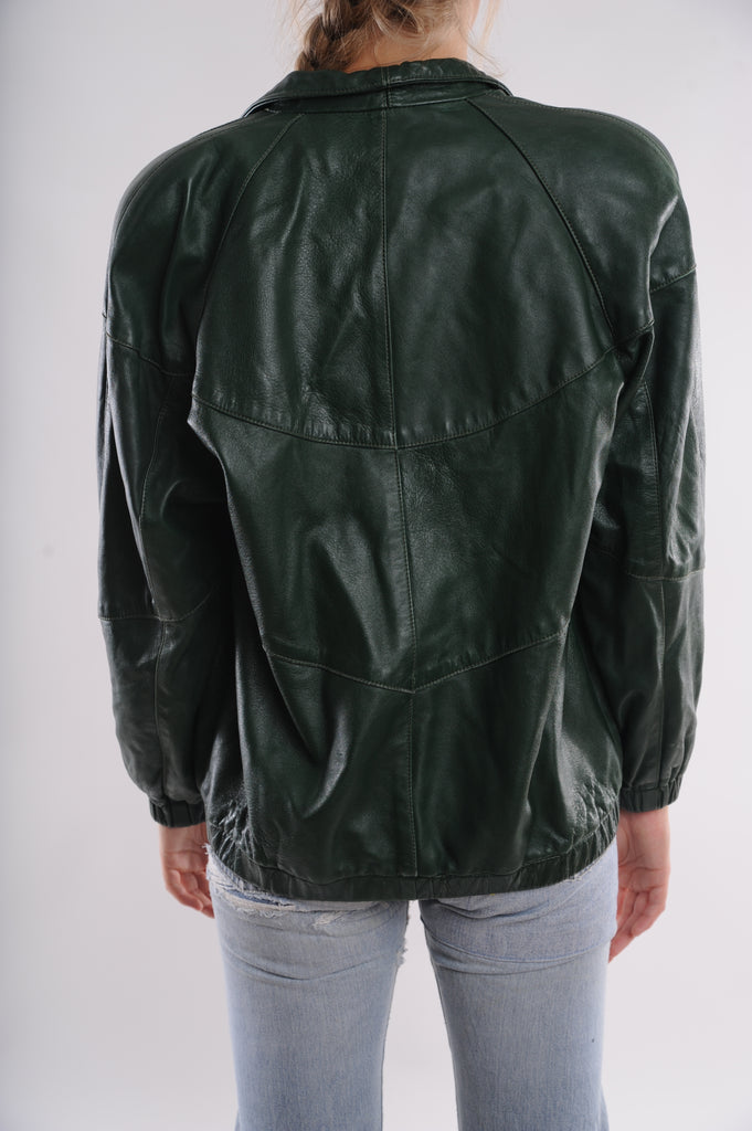 Green Leather Bomber