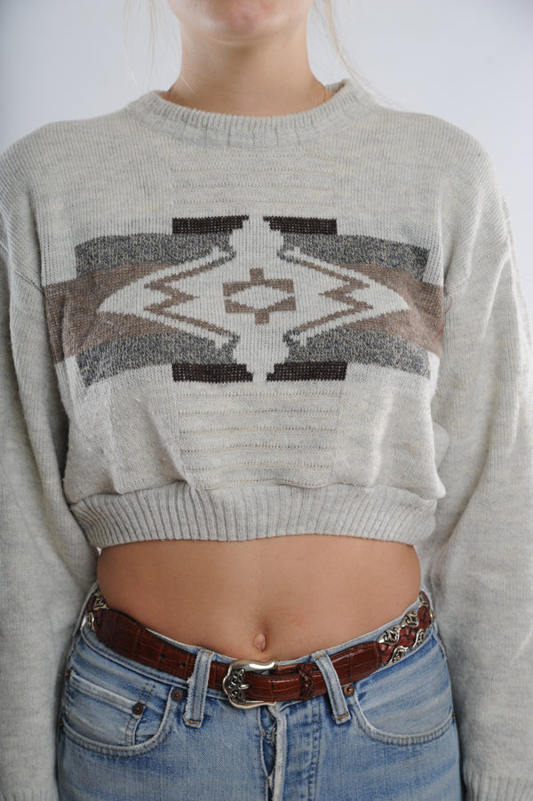 Geometric Graphic Cropped Sweater
