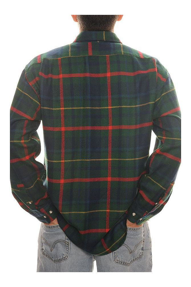 Green and Red Plaid Flannel Shirt