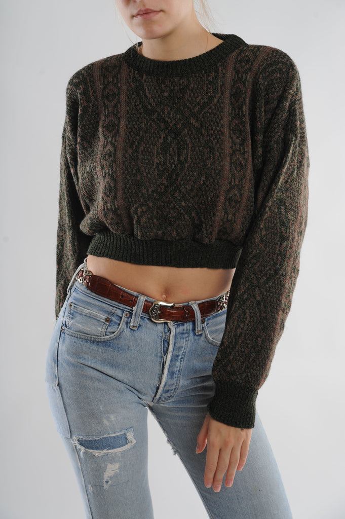 Cable Knit Print Cropped Sweater