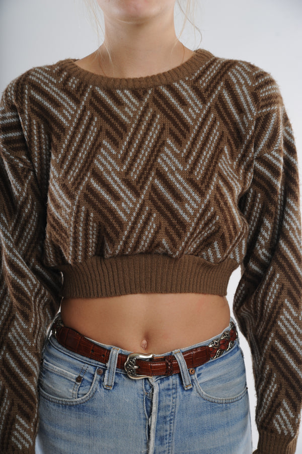 Brown Striped Cropped Sweater