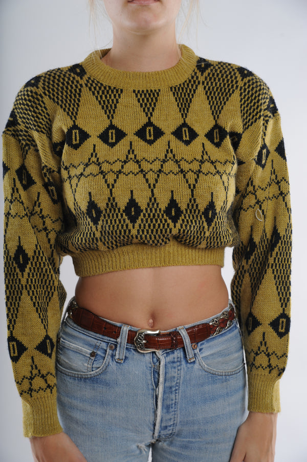 Chartreuse Geometric Cropped Sweater