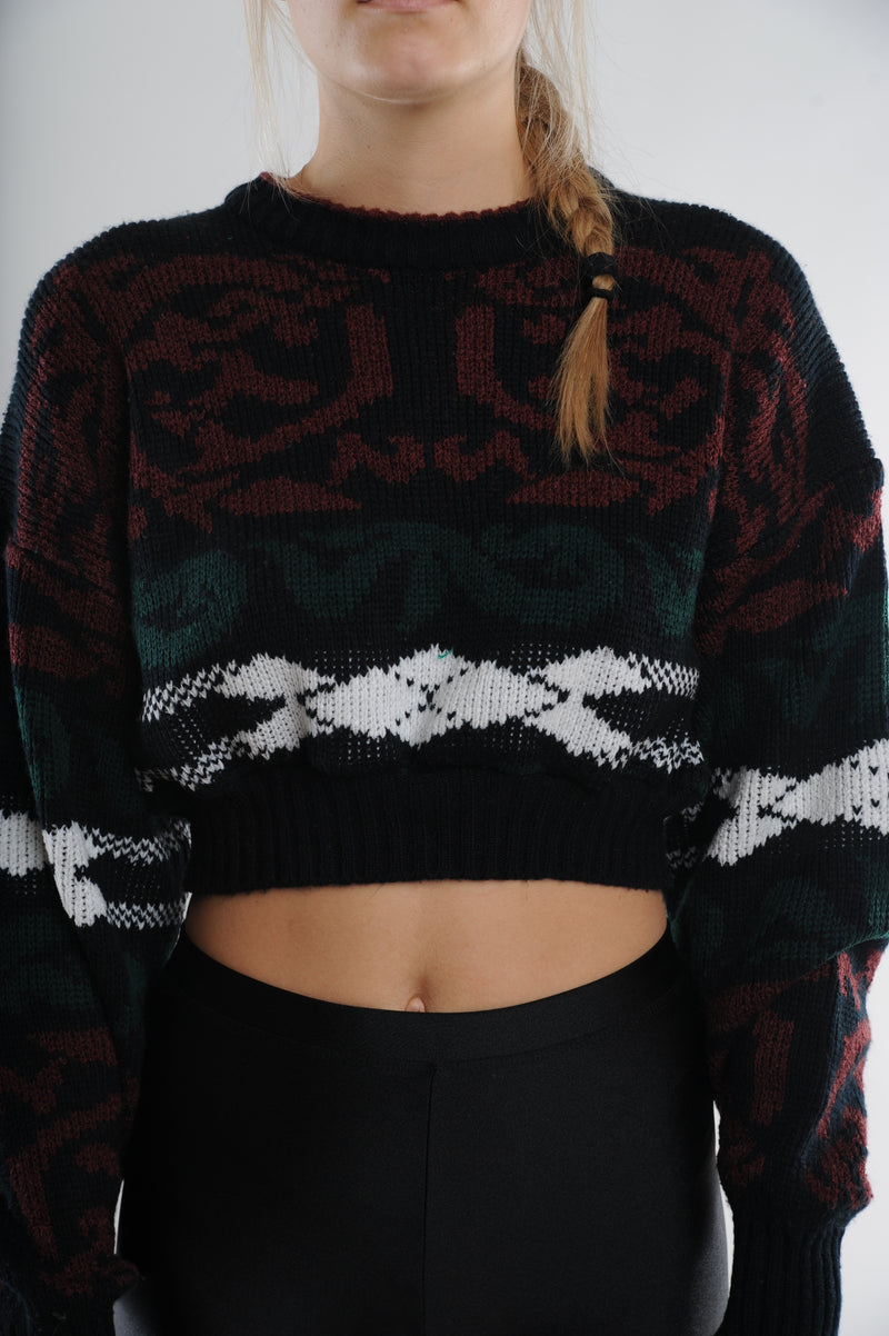 Multi Print Cropped Sweater