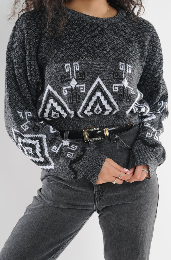 Cropped Geometric Sweater