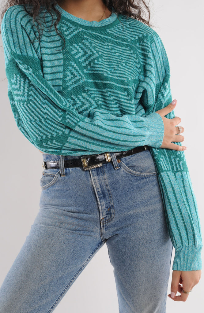 Cropped Blue Striped Sweater