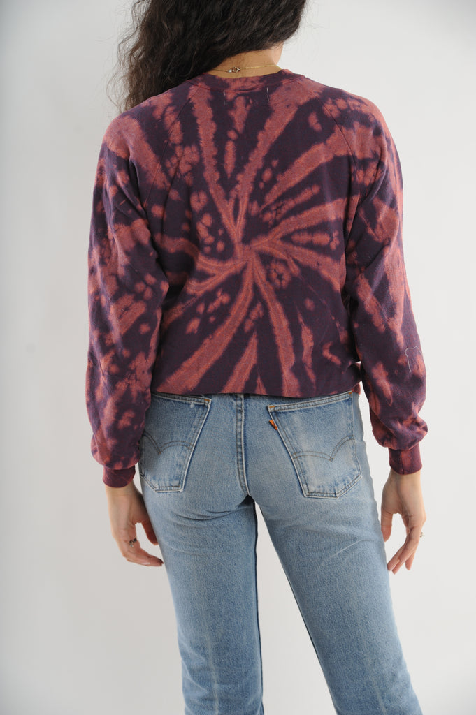 Dark Red Tie Dye Sweatshirt