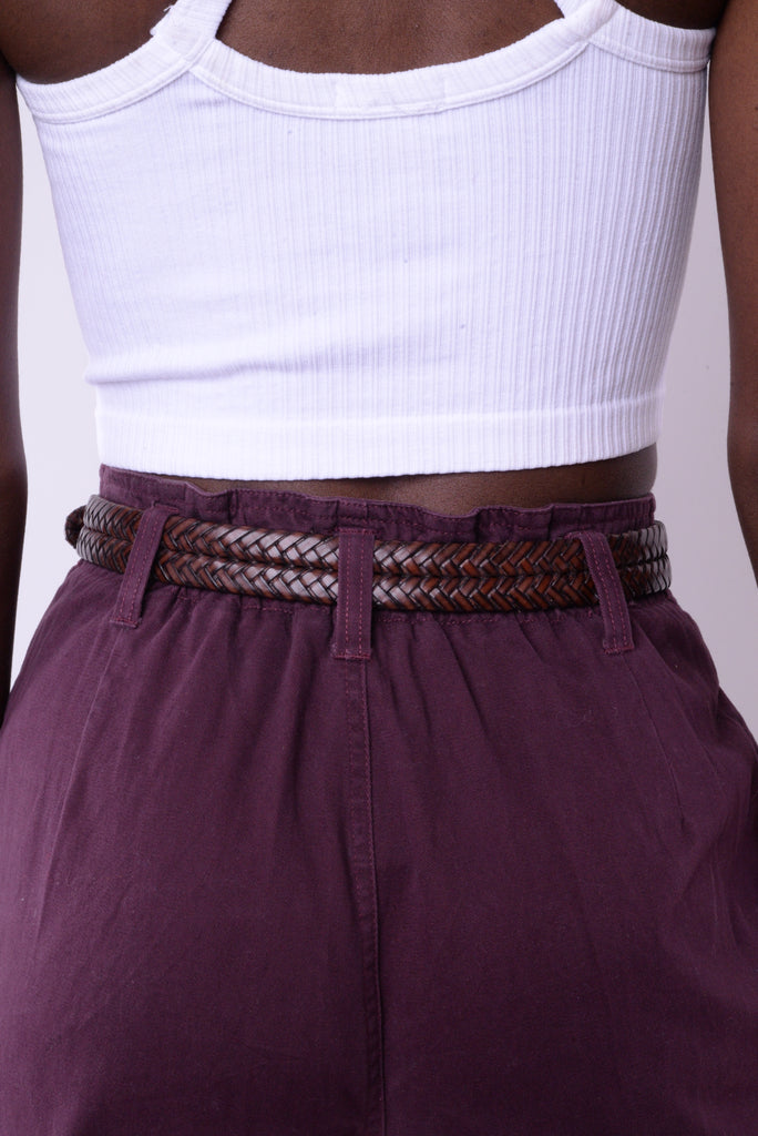 Braided Brown Leather and Metal Belt
