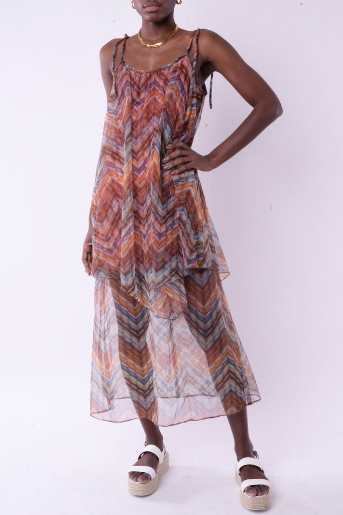 Orange Chevron Maxi Dress