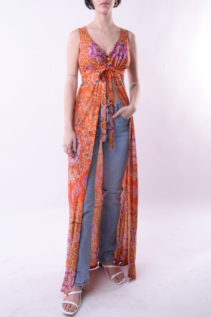Orange Floral Tie Maxi Dress