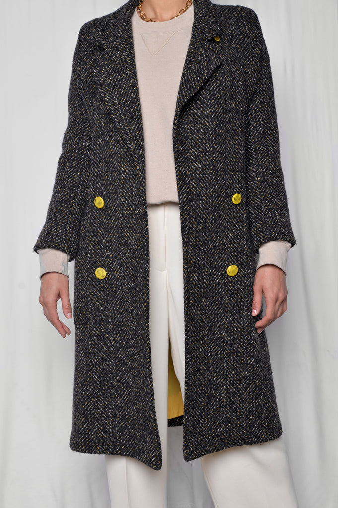 Yellow Accented Wool Coat
