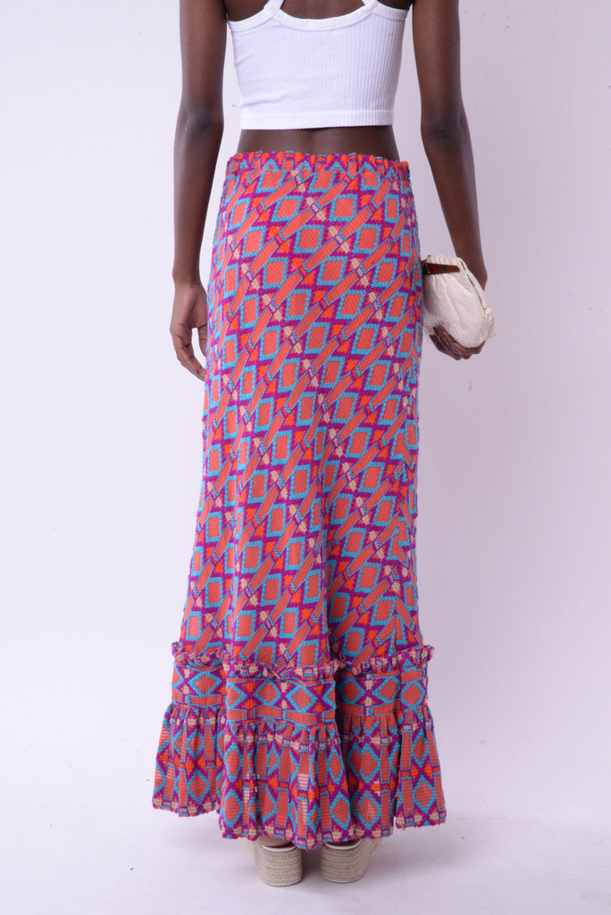 Abstract Pattern Maxi Skirt