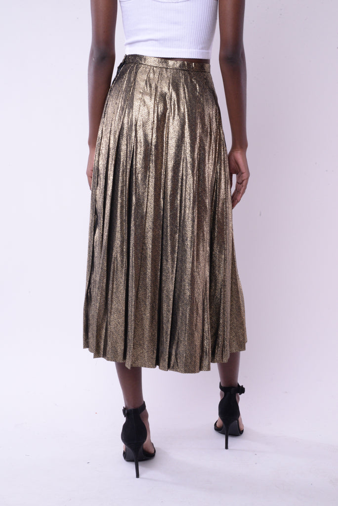 1970s Gold Pleated Maxi Skirt